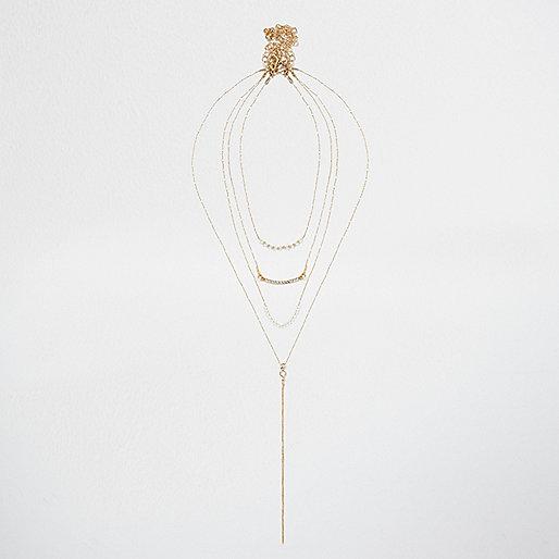 Collier minimaliste doré effet superposé