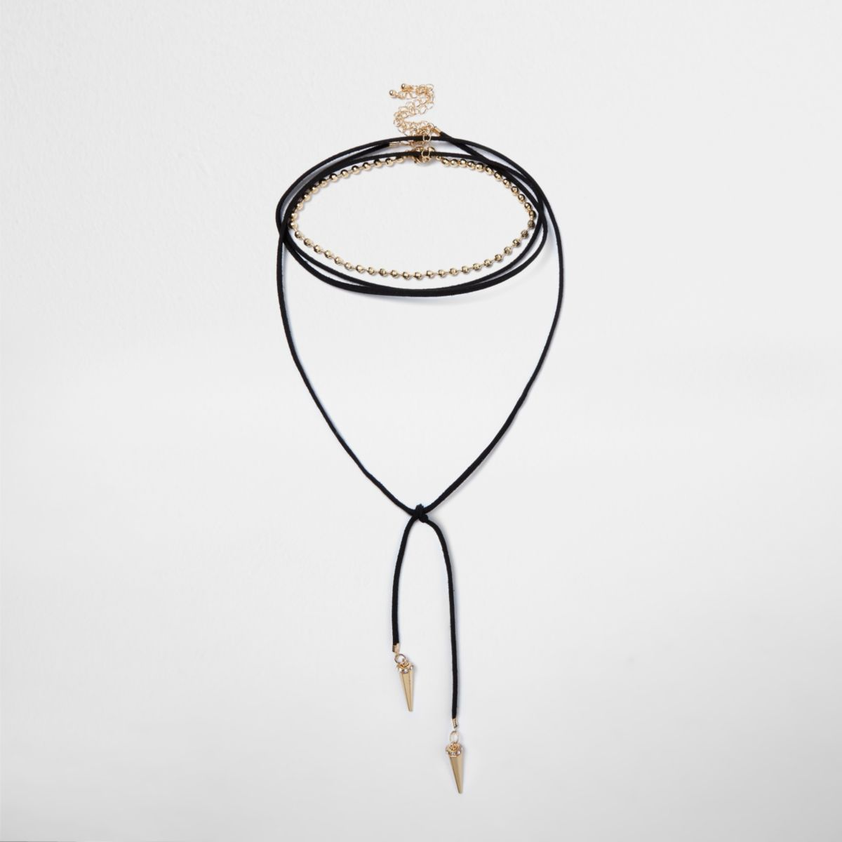 Black tied spike layered choker bolo necklace