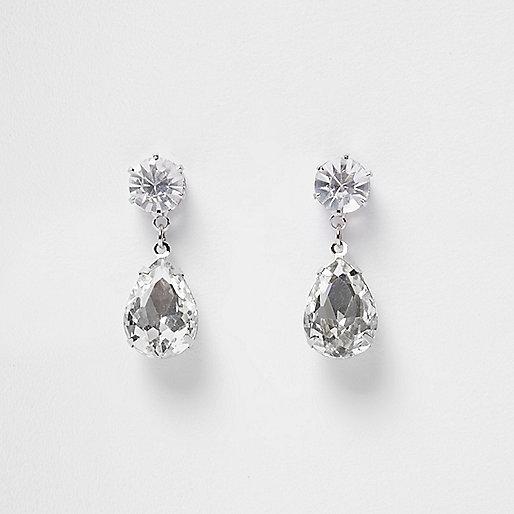 Silver tone crystal dangly earings