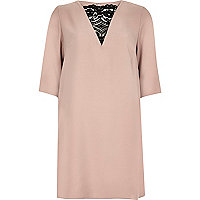Light pink lace insert wing dress