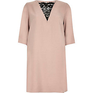 Light pink lace insert wing dress