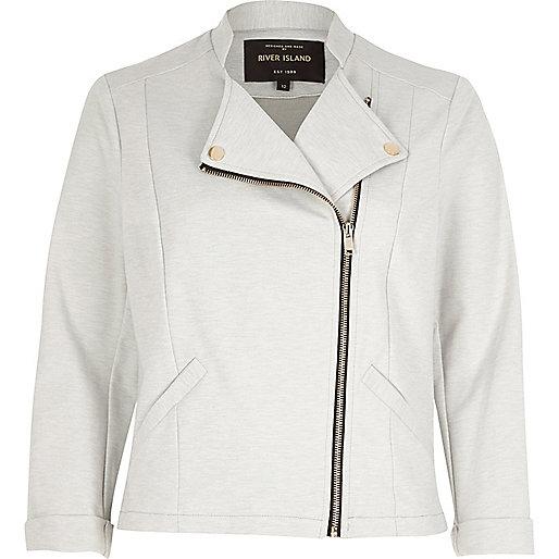 Grey Jersey Biker jacket