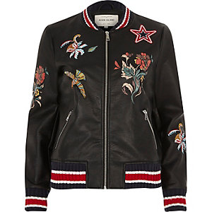 Black faux leather embroidered bomber jacket