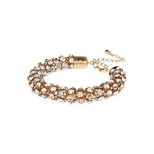 Gold tone embellished rope bracelet
