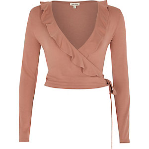 Pink frill wrap V neck top