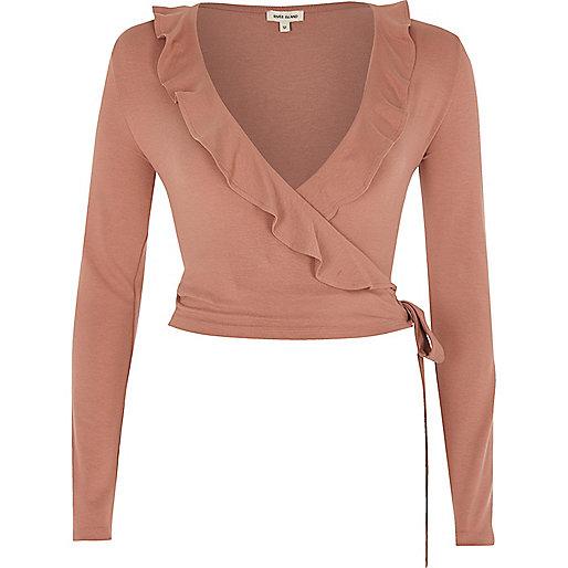Pink frill wrap V neck top