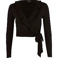 Black frill wrap V neck crop top