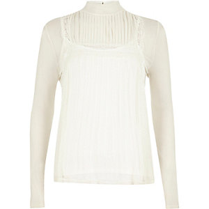 Cream long sleeve lace top