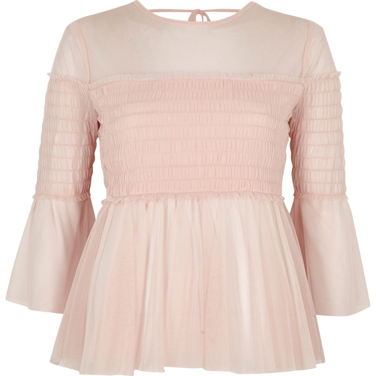 Light pink mesh pleated smock top