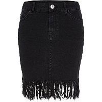 Jupe en jean noire délavée à ourlet brut