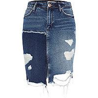 Jupe en jean usé bleu moyen effet patchwork
