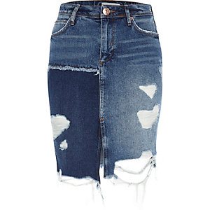 Mid blue distressed patchwork denim skirt