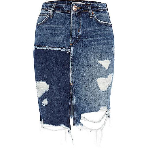 Mid blue distressed patchwork denim skirt