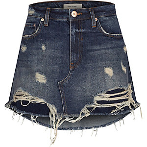 Blue ripped mini denim skirt