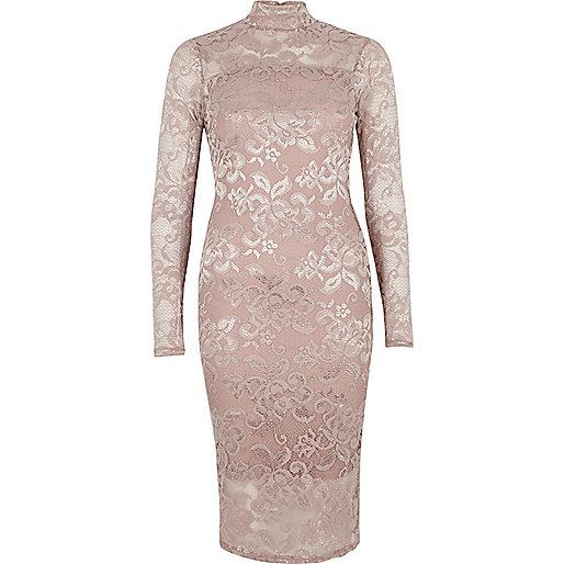 Bodycon-Kleid in Hellrosa