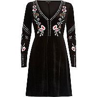 Black stud embroidered skater dress