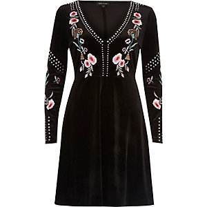 Black stud embroidered skater dress