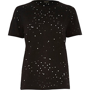 Black stud distressed T-shirt