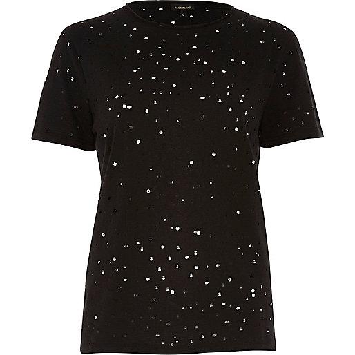 Black stud distressed T-shirt
