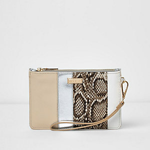 Nude snakeskin panel pouch purse