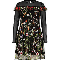 Black embroidered mesh dress