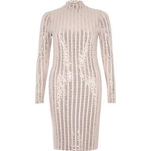 Metallic nude turtleneck bodycon dress