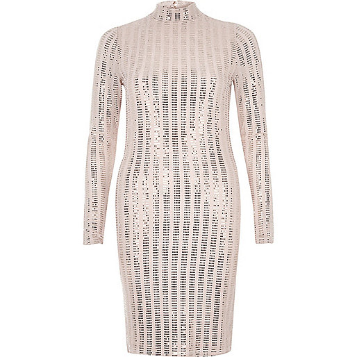 Bodycon-Kleid mit Stehkragen in Metallic-Nude