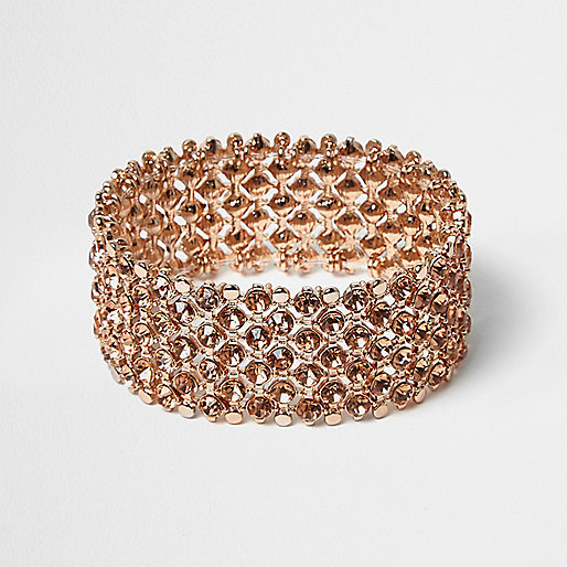 Rose gold crystal embellished bracelet