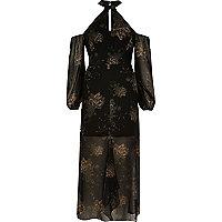 Robe longue imprimé fleuri noire à épaules dénudées