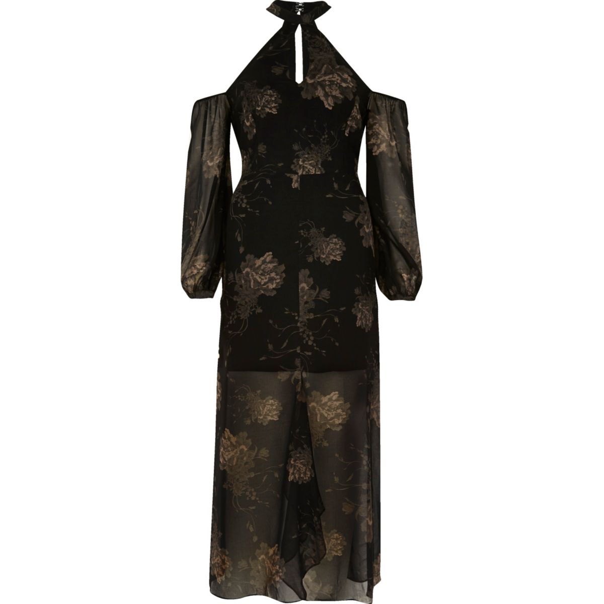 Zwarte gebloemde schouderloze maxi-jurk