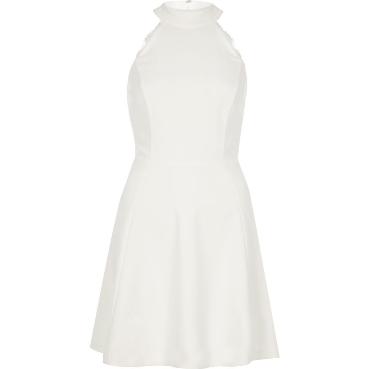 White lace back high neck skater dress