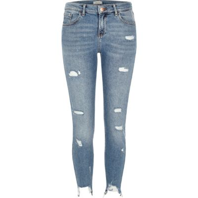 Amelie middenblauwe gescheurde superskinny jeans