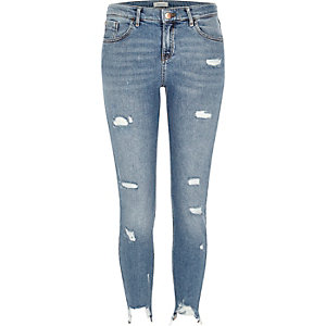 Mid blue ripped Amelie super skinny jeans