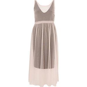 Pink contrast layered mesh dress