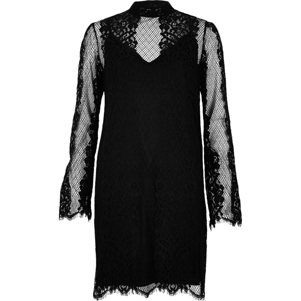 Black layered lace slip dress