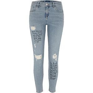 Blue slogan ripped Amelie super skinny jeans
