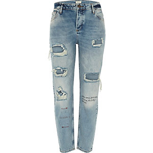 Ashley – Mittelblaue Boyfriend-Jeans im Used-Look