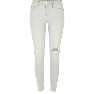 Molly – Hellblaue Jeggings im Used-Look