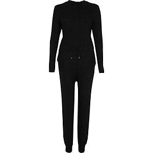 Zwarte geribbelde jumpsuit met blote rug