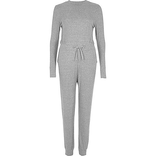Grey open back ribbed jumpsuit