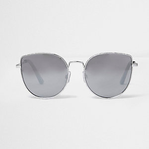 Silver tone textured cat eye sunglasses
