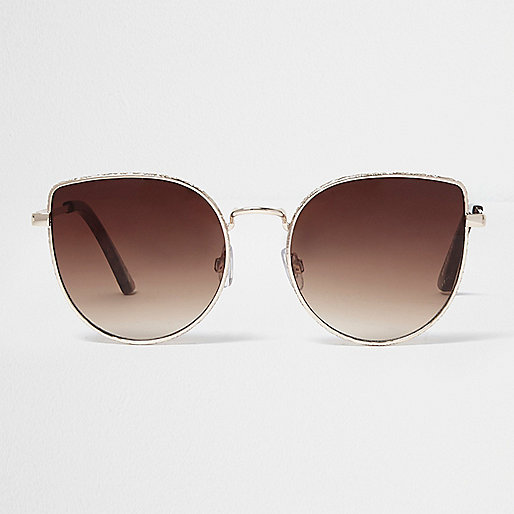 Gold tone brown lens sunglasses