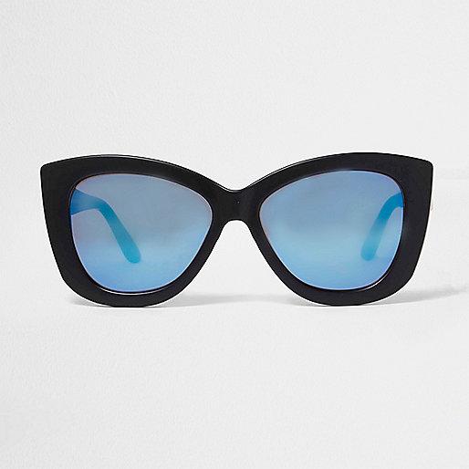 Lunettes de soleil noires forme œil de chat à verres teintés bleus