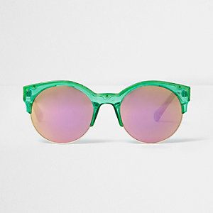 Green round pink mirror sunglasses