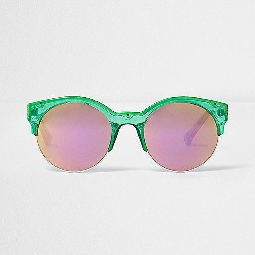 Green round pink mirror sunglasses