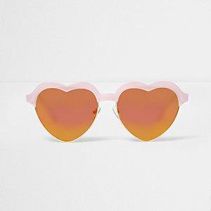Roze hartvormige zonnebril met spiegelglazen