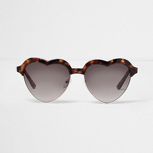 Brown tortoiseshell heart shaped sunglasses