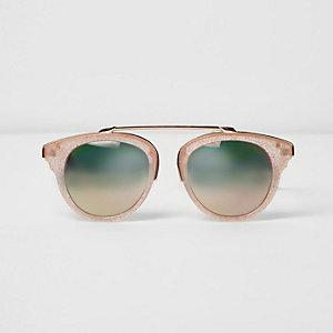 Roze zonnebril met bruine brug en glitter