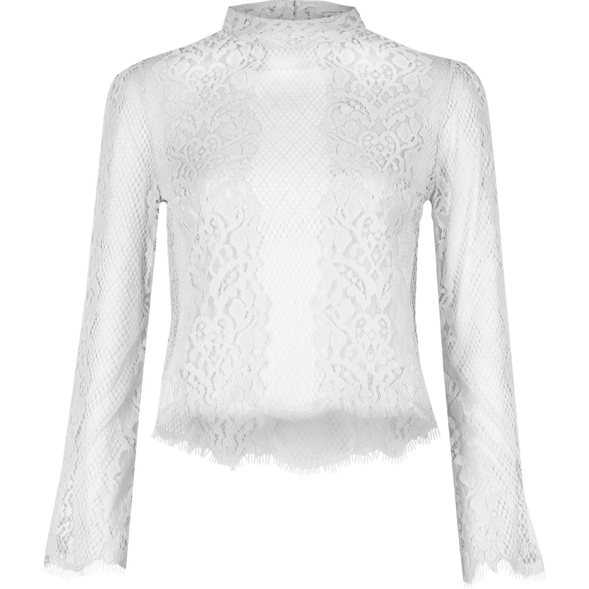 Cream lace flute top
