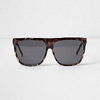 Beige tortoiseshell glam flat brow sunglasses